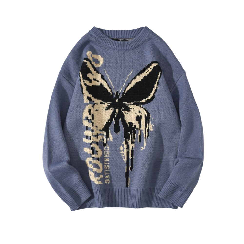 Butterfly Pattern Knitted Sweater