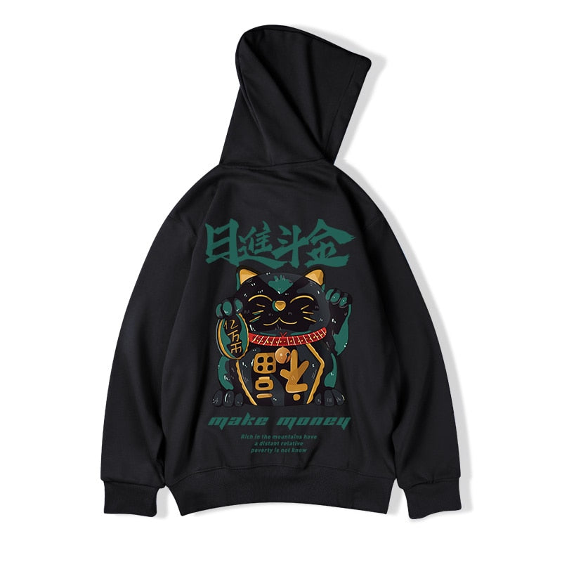 Lucky Cat Patterned Hoodie