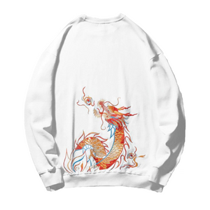 Red Dragon Embroidered Cotton Sweatshirt