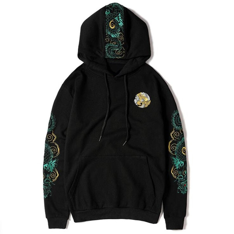 Chinese Dragon Embroidered Hoodie