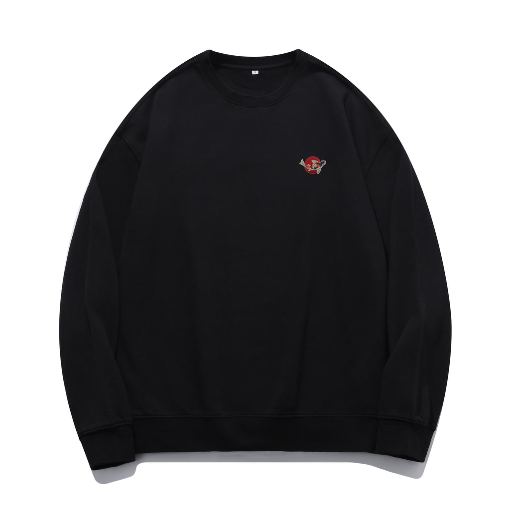 Koi Fish Embroidered Oversized Sweatshirt