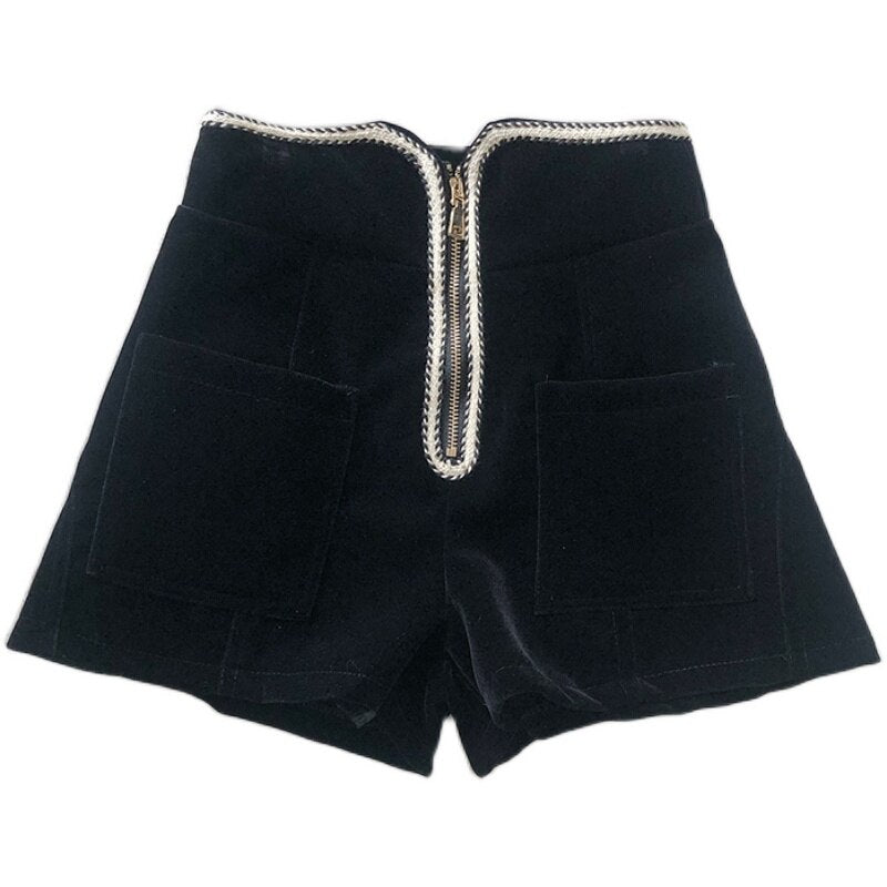 High Waist Zipper Shorts