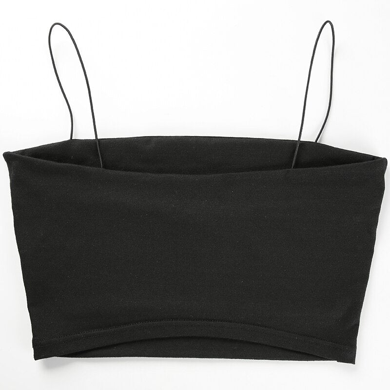 Black Cotton Cropped Top