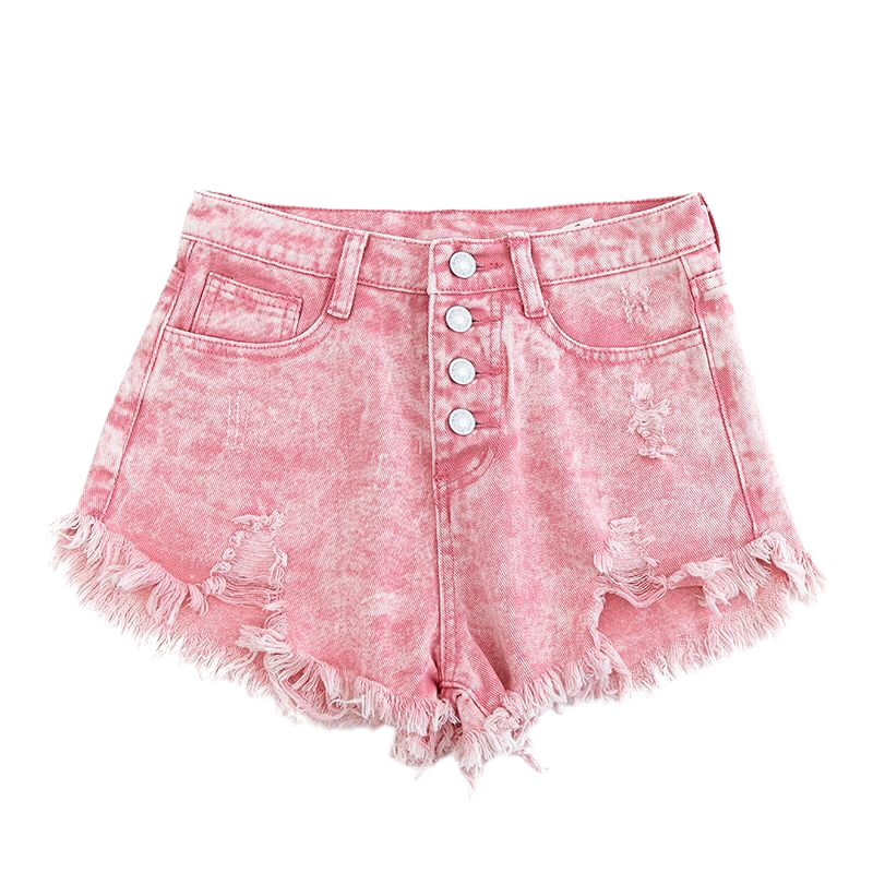 Front Buttons High Waist Shorts