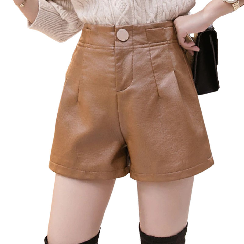 Loose Fit Leather Shorts