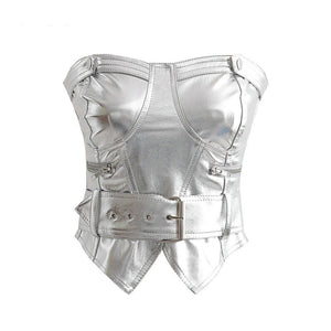 Stylish Strapless Leather Top