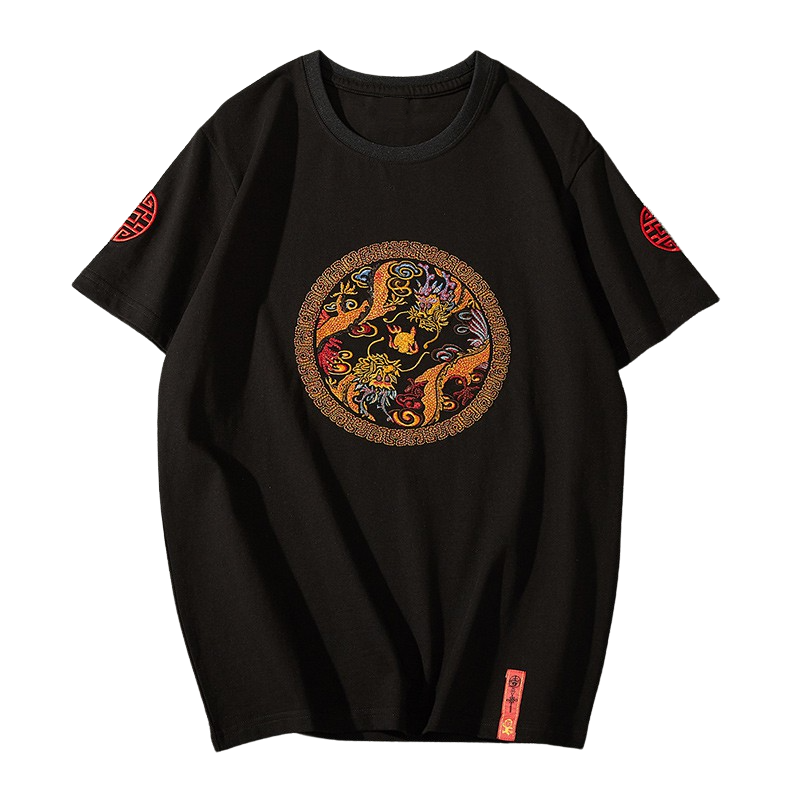 Dragon Embroidered Cotton T-Shirt