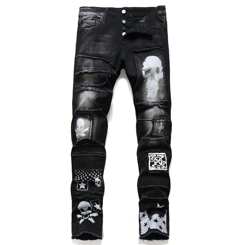 Black Patched Biker Jeans
