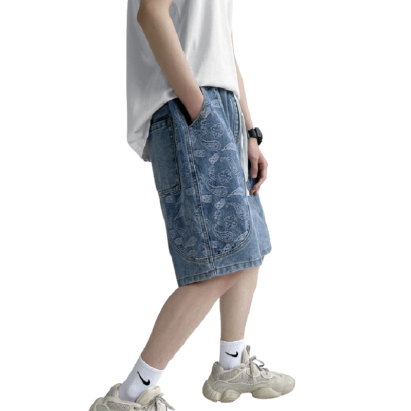 Oversized Pattern Jeans Shorts