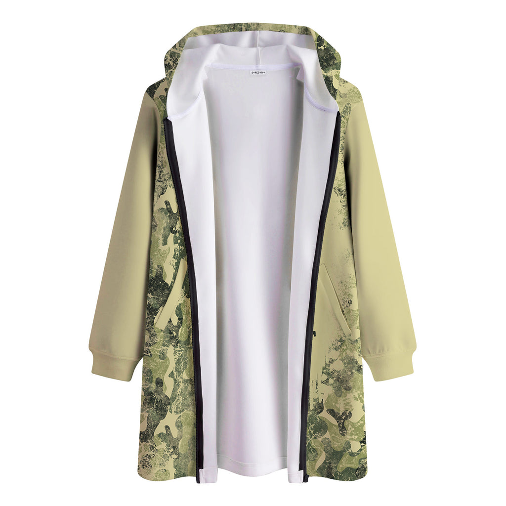 Camo Grunge Long Hooded Jacket