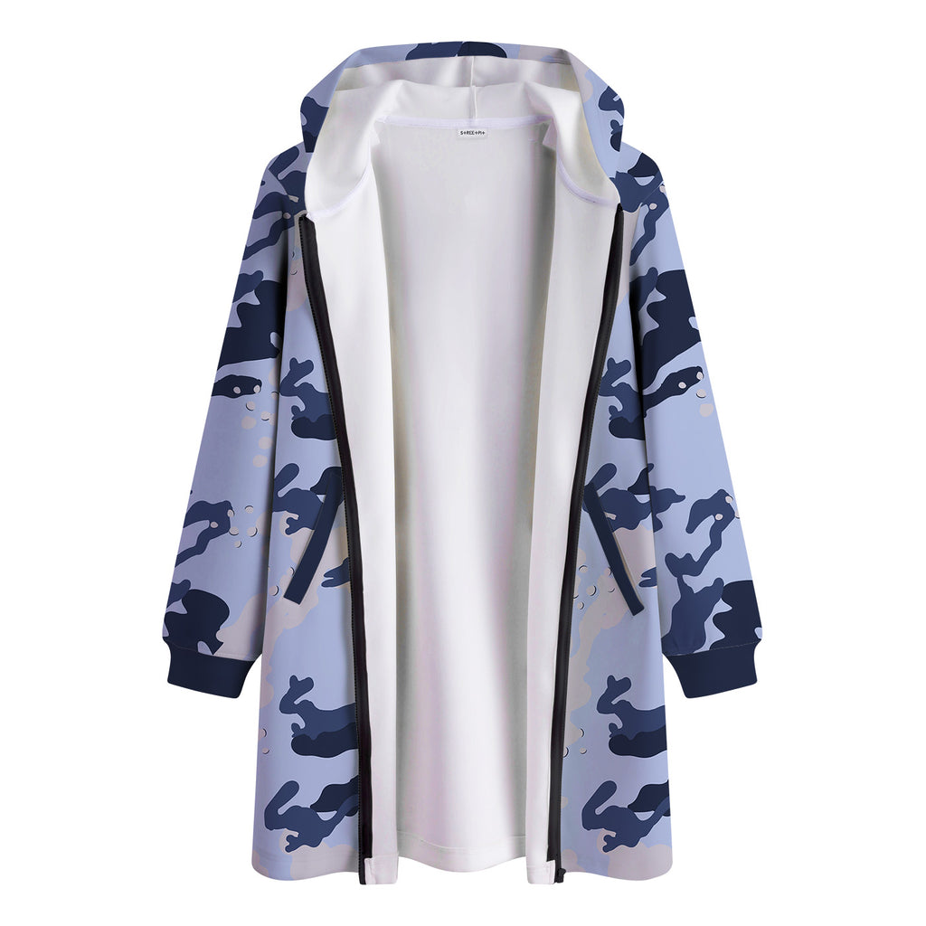 Camo Pattern Long Hooded Jacket