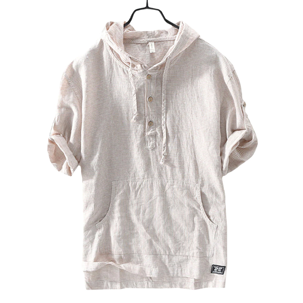 Hooded Linen Blend Shirt