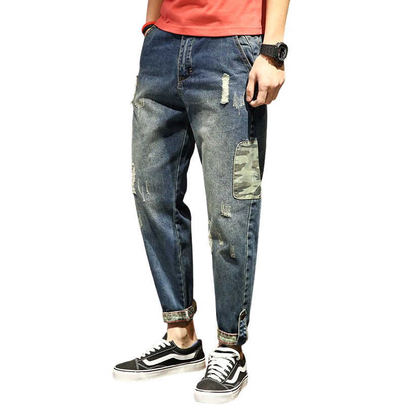 Baggy Denim Ankle Pants