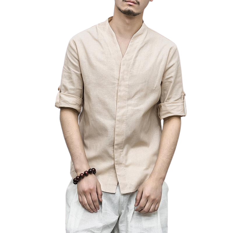 Linen Blend Shirt With Rolled Up Sleeves