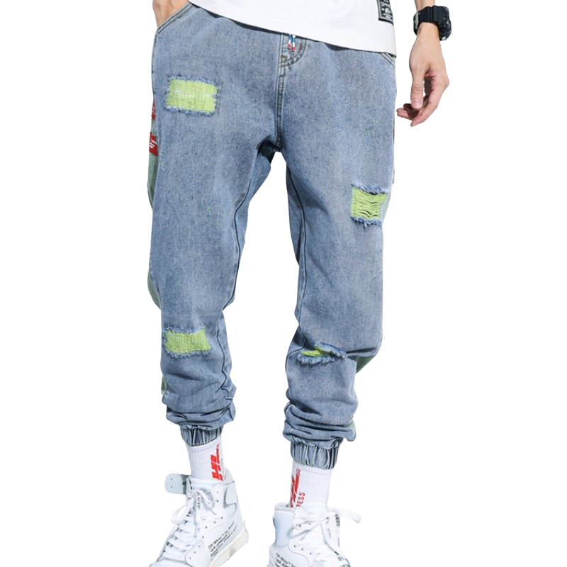 Light Distressed Denim Joggers