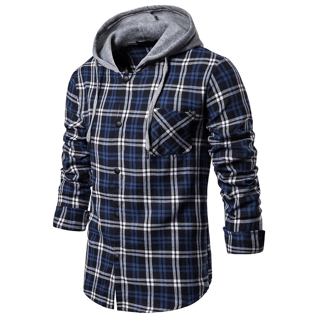 Plaid Button-Up Hooded Shirt