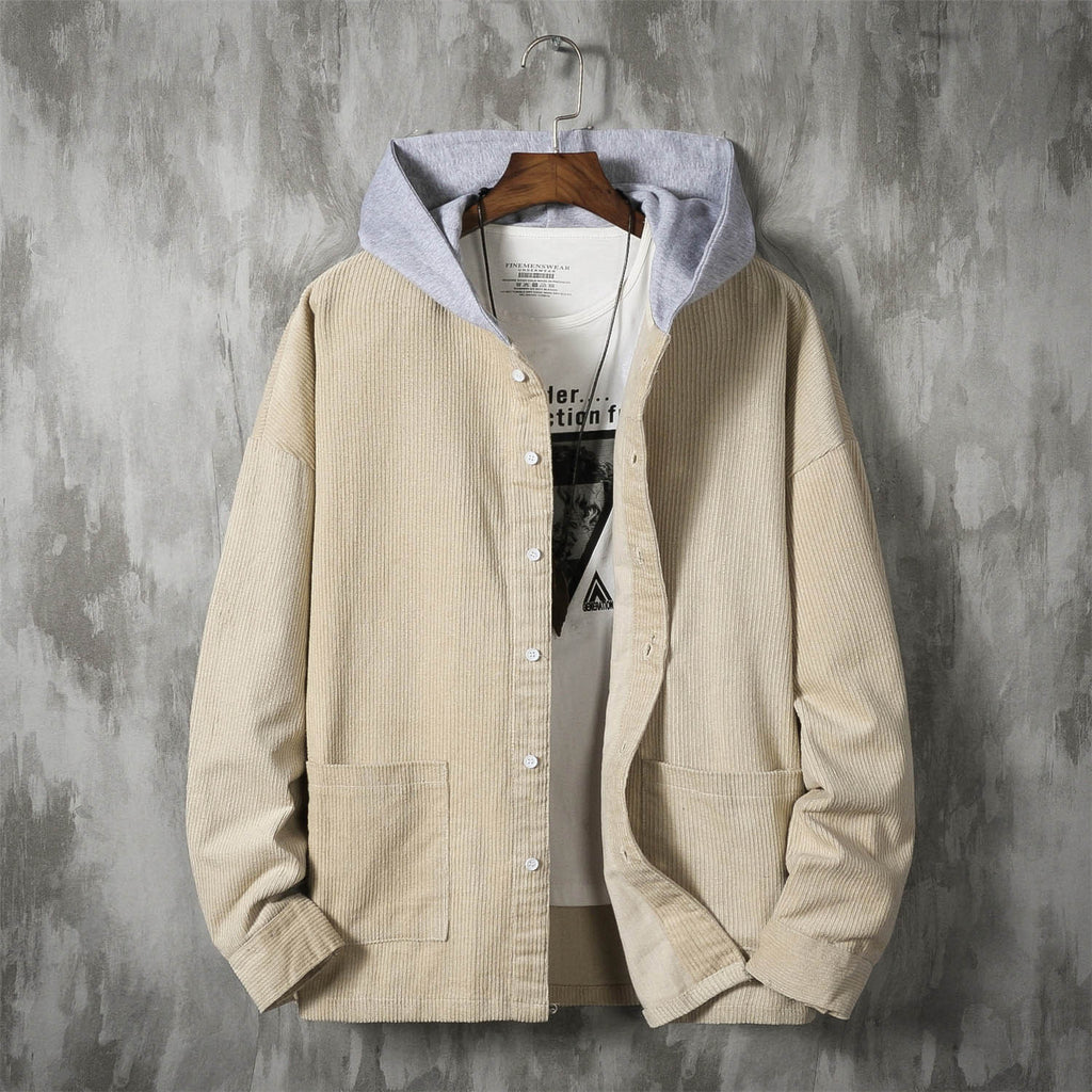 Corduroy Button-Up Hooded Jacket