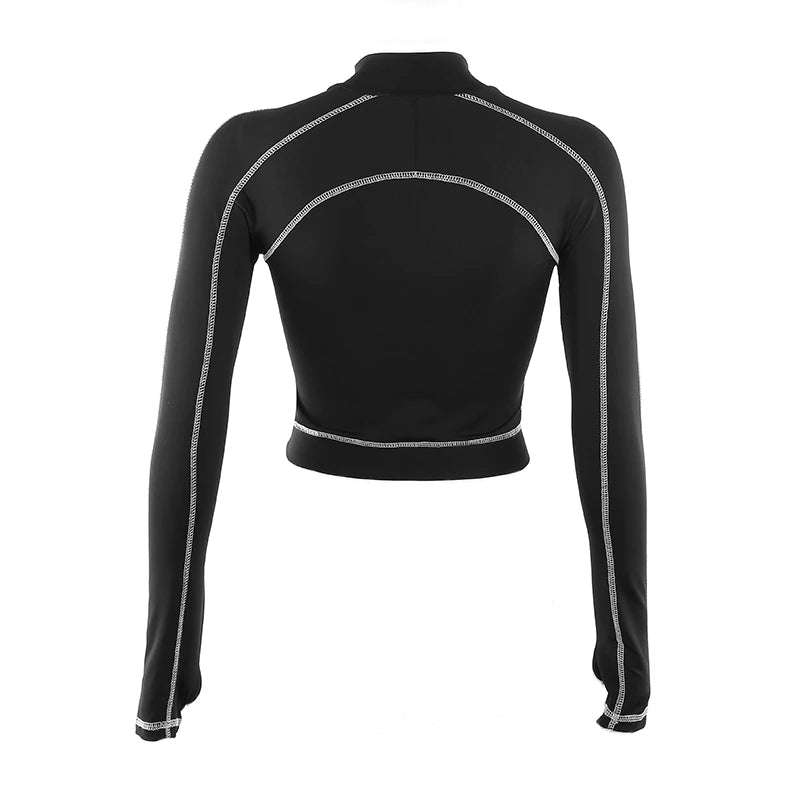 Long-Sleeved Zipper Crop Top