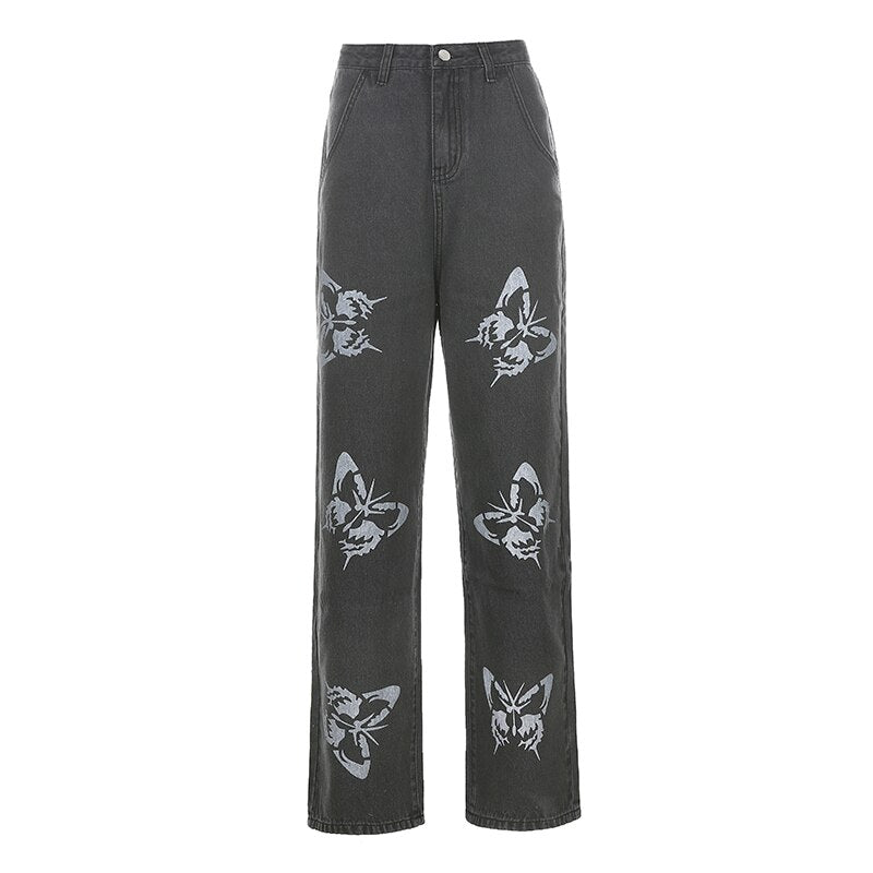 Straight Cut Butterfly Jeans
