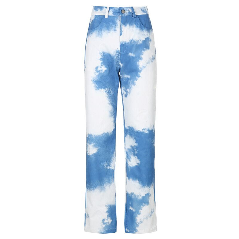 Straight Cloud Print Pants