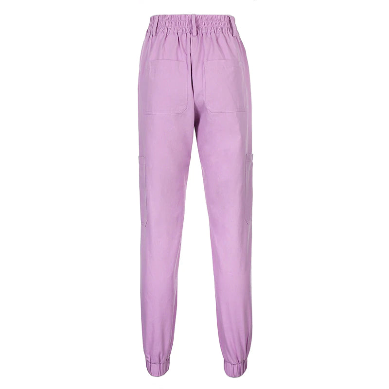 Purple High Waist Cargo Joggers
