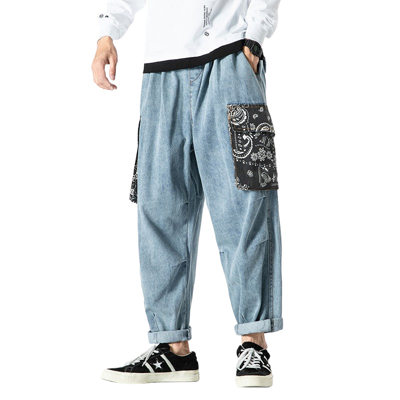 Flower Stitched Baggy Pants