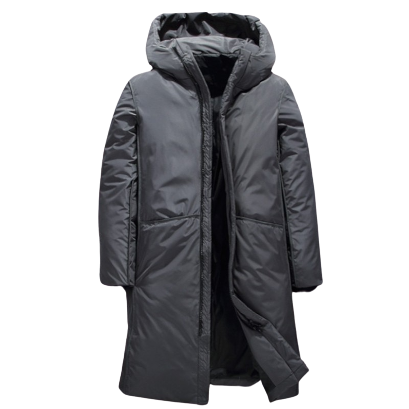 Long Solid Hooded Coat