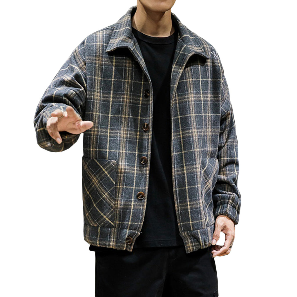 Plaid Flannel Button-Up Jacket