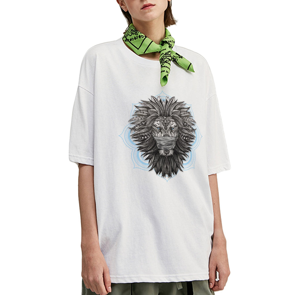 Masked Tribal Lion Oversized T-Shirt