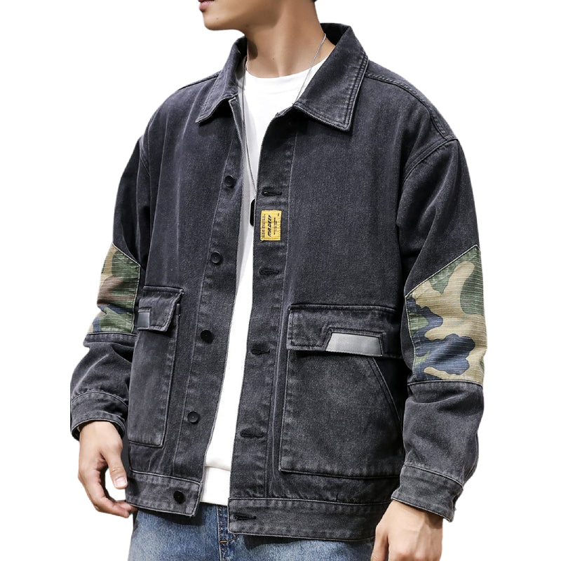 Camouflage Detailed Denim Jacket