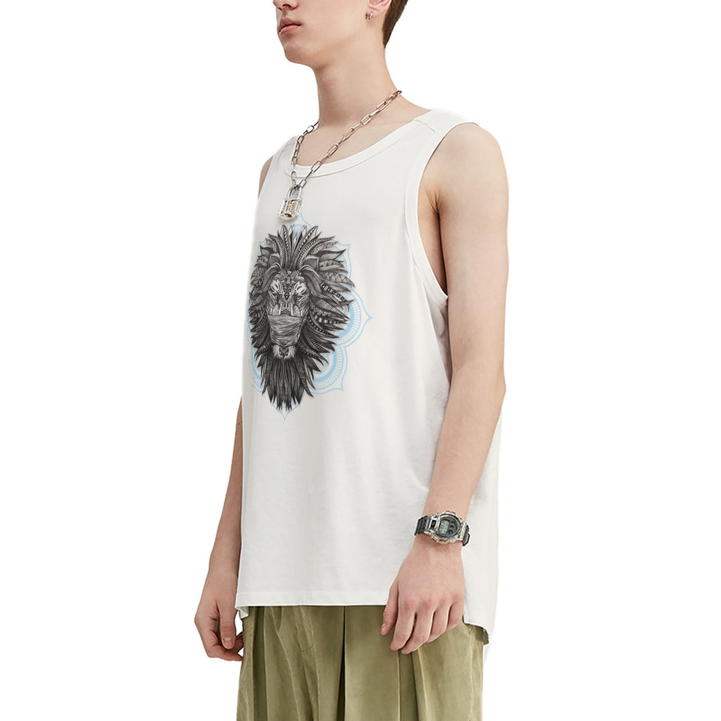 Masked Tribal Lion Oversized Tank Top