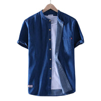 Mandarin Collar Denim Shirt