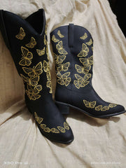 Embroidered Butterfly- Mid Boots