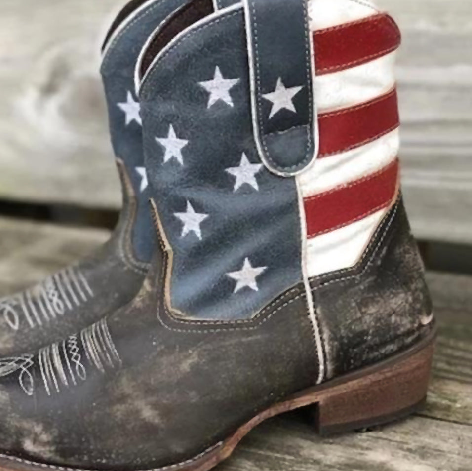 Boots with American flag