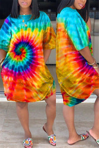 Plus Size Tie Dye Pocket Casual Dress-50%OFF