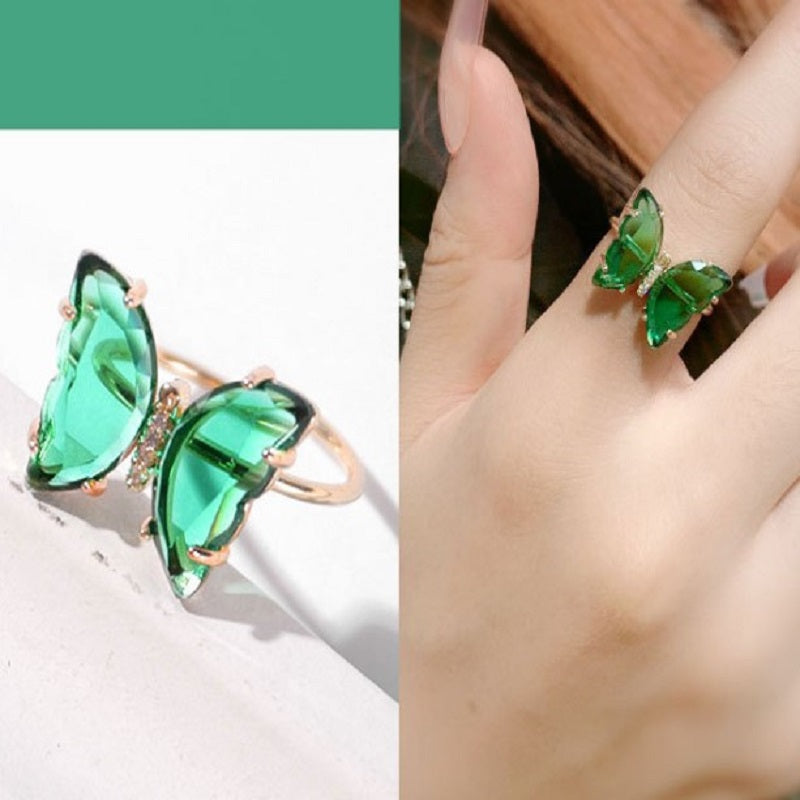 💘Crystal Butterfly Ring Metal Jewelry - Every Girl Who Loves Beauty Should Not Miss It