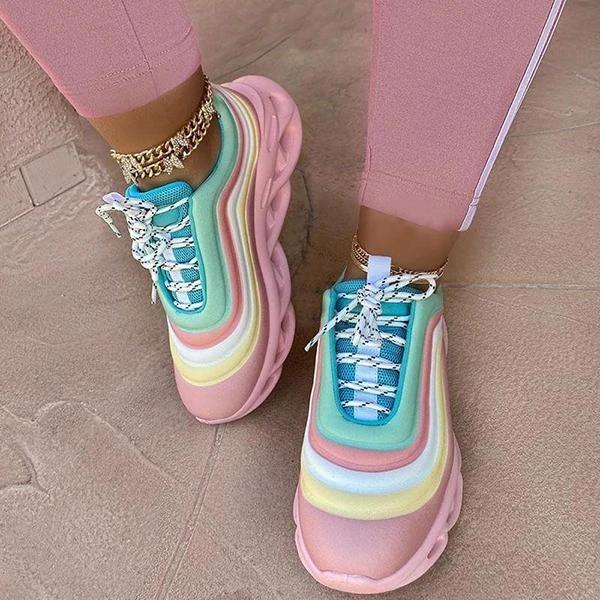 Striped color platform shoes