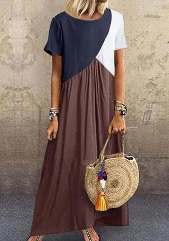 Color-block Paneled Crew Neck Casual Maxi Dress【Flash Sale】