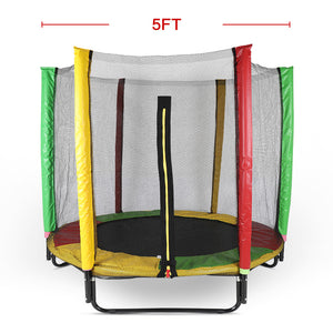5ft Kids Trampoline With Enclosure Net Fit Indoor And Outdoor