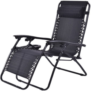 Adjustable Zero Gravity Lounge Chair with Cup Holder Tray Black Color