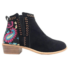 Women Floral Print Low Heels Block Casual Ankle Boots