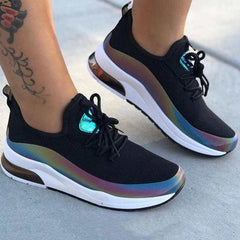 Round Toe Low-Cut Upper Lace-Up Color Block Sneakers