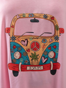 Vintage Car Floral Casual Tops
