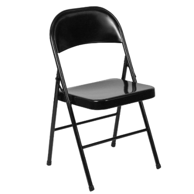 Flash Metal Folding Chair Black 18 Gauge Steel Frame