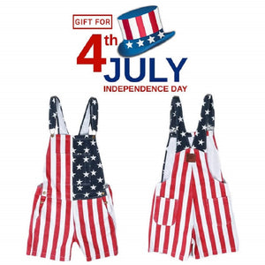 American Flag Overalls Shorts Star Spangled Clothing