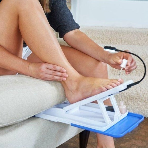 Home Pedicure Kit- All in one nail care system · Stable surface to work on · LED light · Foldable for easy storage