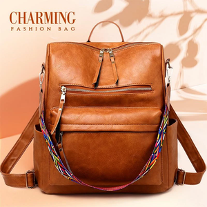 Fashion Leather Backpack With Rainbow Strap-50%OFF