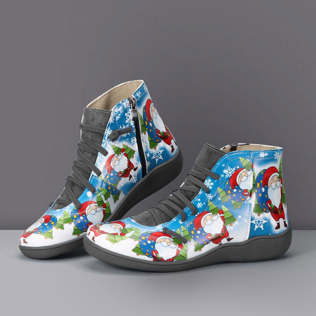 Christmas zipper boots