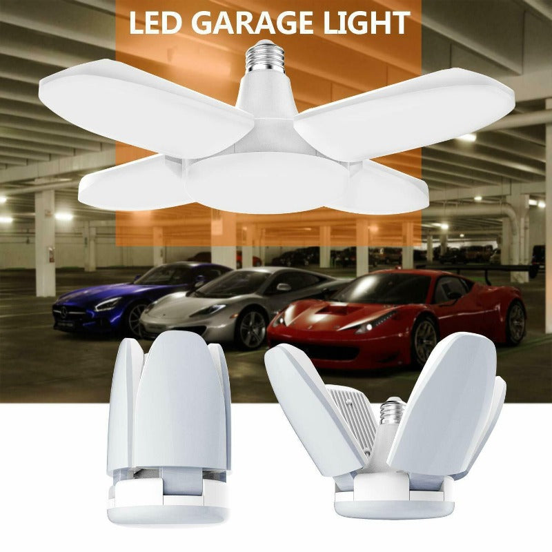 Deformable LED Garage Light With 4 Adjustable Panels-Angle Light Anywhere