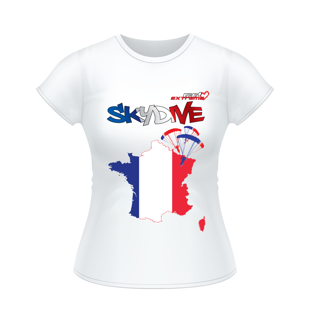 Skydiving T-shirts - Skydive All World - FRANCE - Ladies' Tee -, Shirts, Skydiving Apparel, Skydiving Apparel, Skydiving Apparel, Skydiving Gear, Olympics, T-Shirts, Skydive Chicago, Skydive City, Skydive Perris, Drop Zone Apparel, USPA, united states parachute association, Freefly, BASE, World Record,